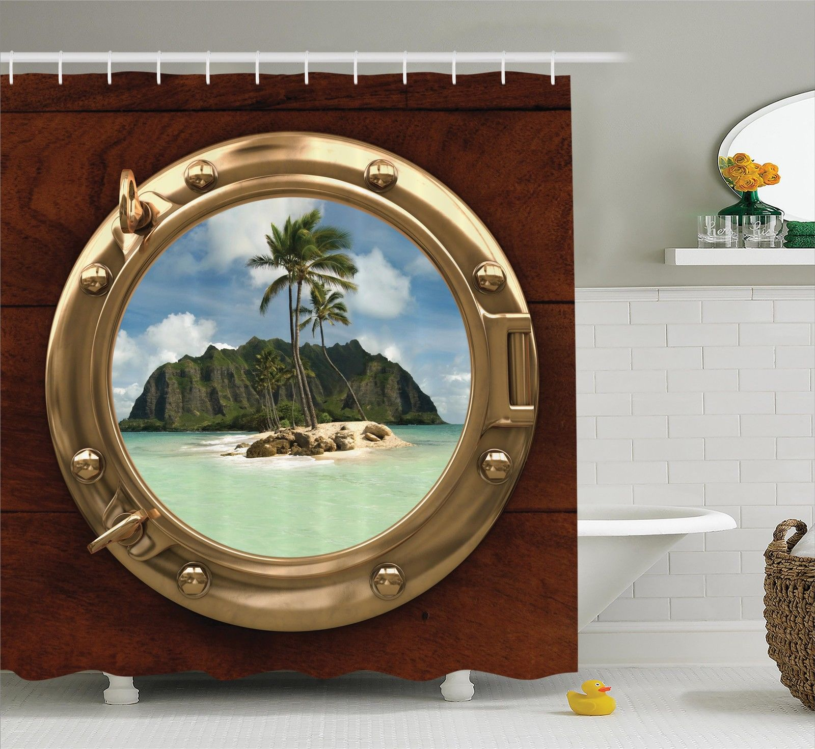 View from Porthole of Ship Tropical Island and Palm Tree Sand Shower Curtain Set