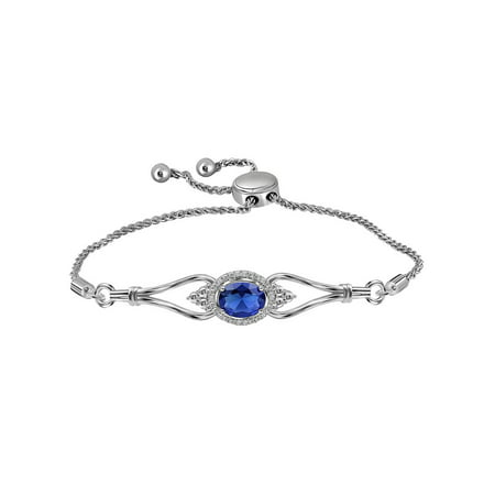 Lab Created Blue Sapphire 7/8 Carat (ctw) Bolo Bracelet in Sterling Silver with Diamonds 1/20 Carat (ctw)