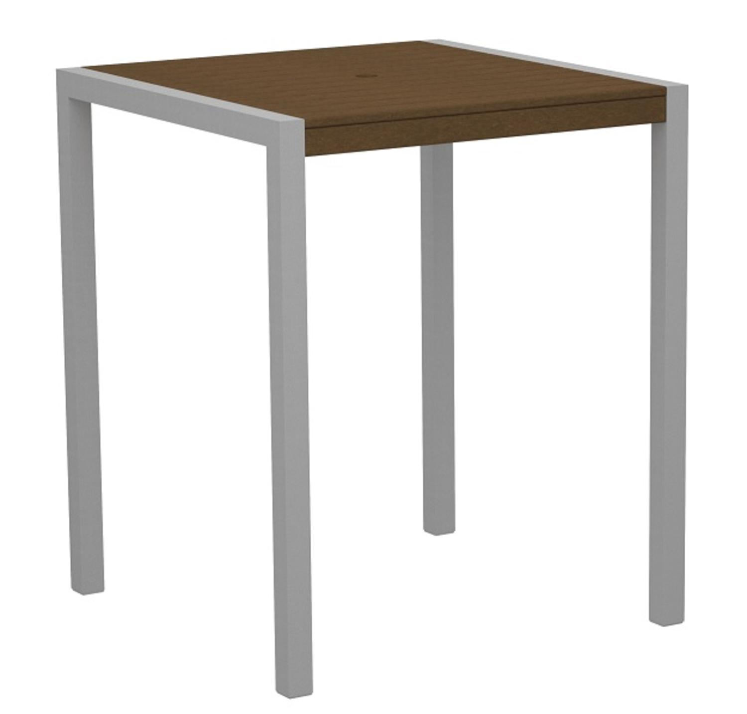 "42"" Outdoor Recycled Earth-Friendly Pub Table Teak Brown with Silver Frame by Eco-Friendly Furnishings"