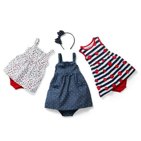 Healthtex Newborn Baby Girls' Ruffle Detail Babydoll Woven Dress With Diaper Cover