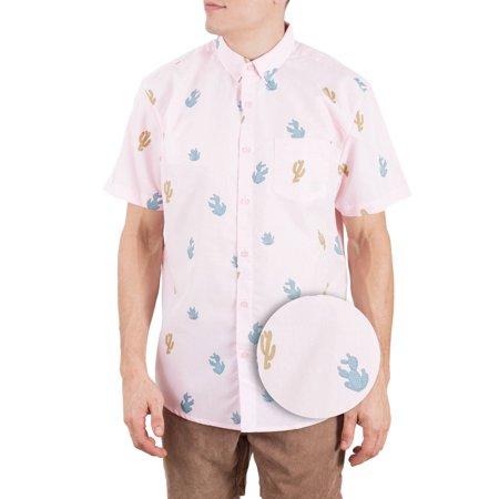 2d1646b743317 Mens Hawaiian Shirt Short Sleeve Button Down Up Shirts For Men Pink Castus  S - Walmart.com