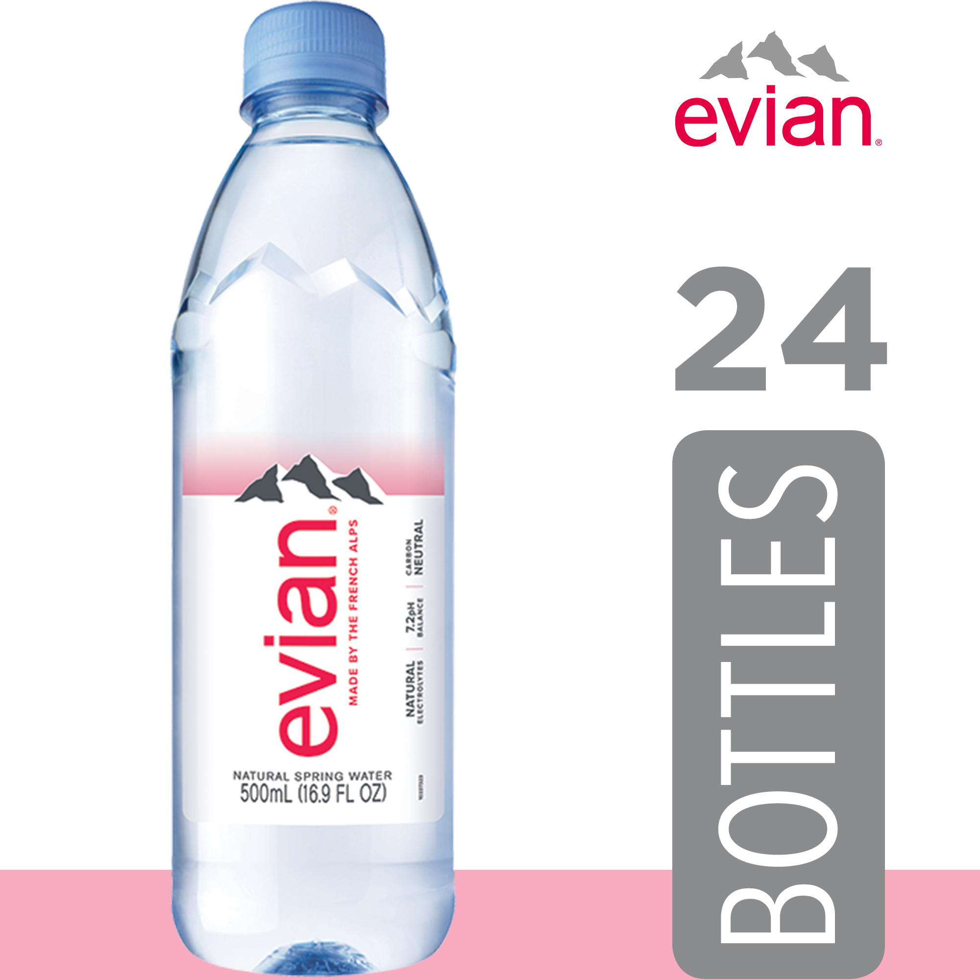 Set of 4  Round Bottle of Evian Water Dollhouse Miniatures  Food Supply Deco