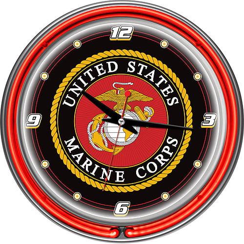 """United States Marine Corps 14"""" Neon Clock"""