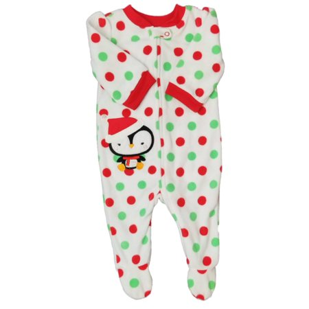 First Moments Baby Girl White Fleece Penguin Sleeper Christmas Pajamas NB