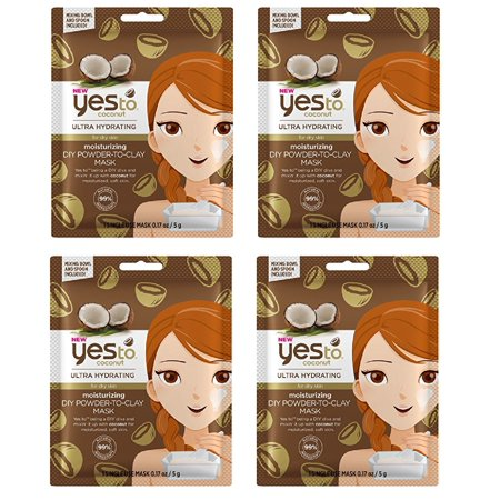 Yes to Coconuts Moisturizing DIY Powder-to-Clay Single-Use Mask, 0.25 oz (Pack of 4) + Cat Line Makeup Tutorial - Diy Halloween Makeup Tutorial