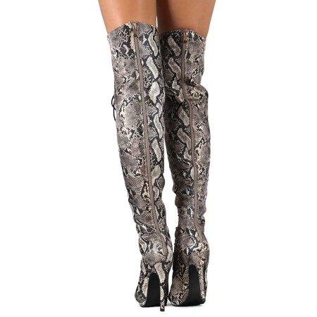 8b8f32a5d93 Liliana - Liliana DC49 Women Python Peep Toe Lace Up Thigh High Stiletto  Boot - Walmart.com