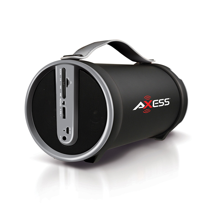 "Axess Portable Bluetooth 2.1 Hi-Fi Cylinder Speaker w/SD Card, AUX & FM Inputs, 4"" Sub.-Gray"