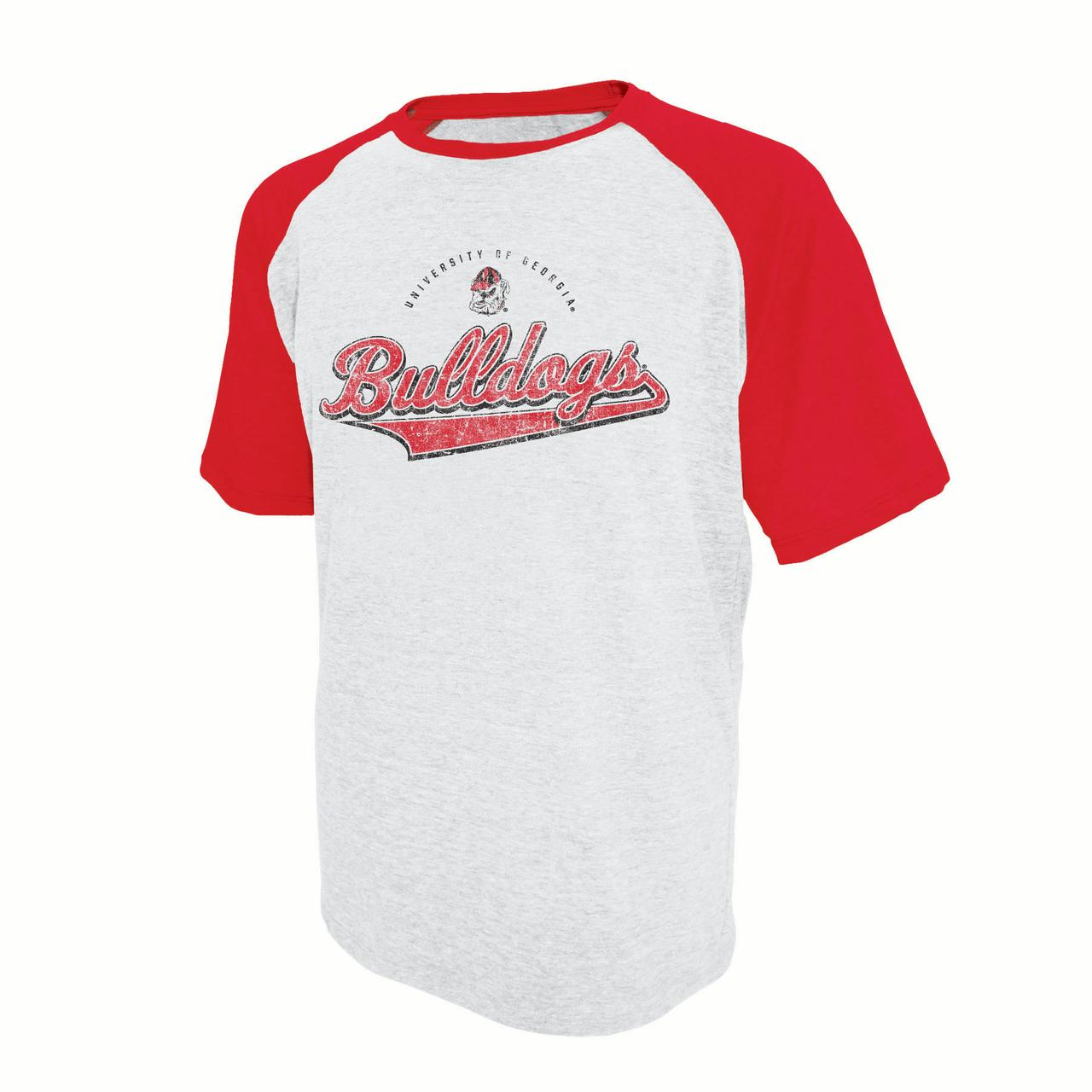 Men's Russell White Georgia Bulldogs Athletic Fit Distressed T-Shirt