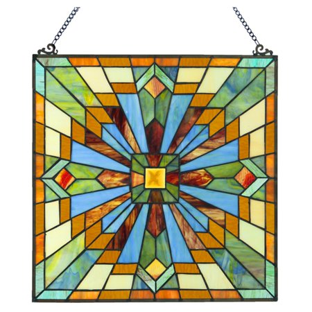 River of Goods Mission Style Stained Glass Clouds in the Sky Window Panel](Stained Glass Clearance)