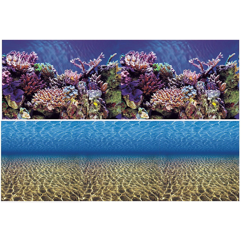 Aquarium Background Ocean Seabed  Coral Reef Double sides (84WX24H), Double sided- One side Coral Reef the... by