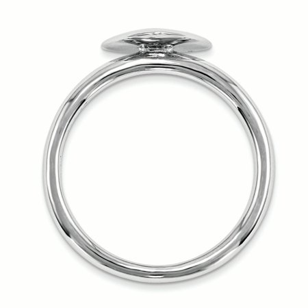 Sterling Silver Stackable Expressions Rhodium-plated Heart Diamond Ring Size 9 - image 1 of 3
