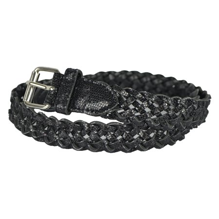 Braided Metallic Leather Belt - Girls Belt - Colorful Metallic Glitter Braided Faux Leather Belt for Kids by Belle Donne - Black Large
