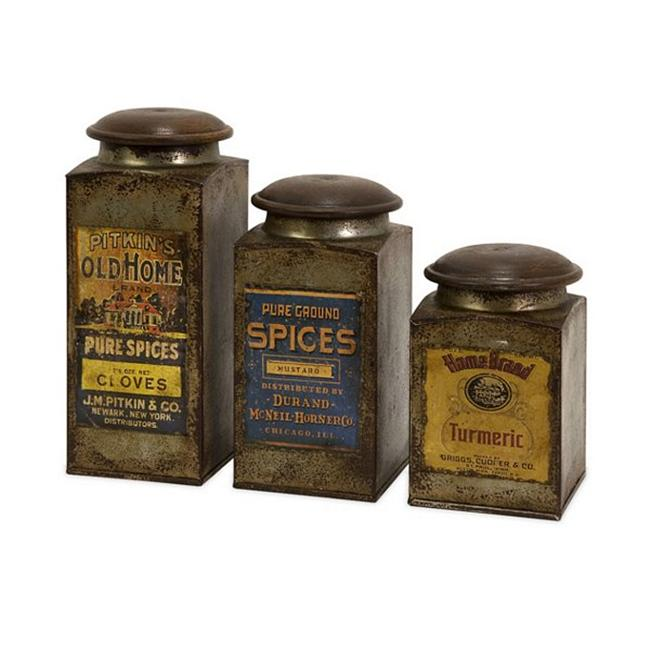 Home Decor Improvements 73046-3 Addie Vintage Label Wood And Metal Canisters - Set of 3