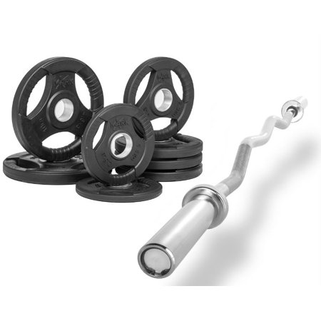 Combo Offer Xmark Fitness 47   Olympic Ez Curl Excercise Bar Xm 3670 1 Chrome With Premium Quality Rubber Coated Tri Grip Olympic Plate Weight Package Xm 3377 Bal 45