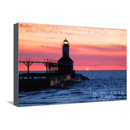 Indiana - Michigan City Lighthouse Stretched Canvas Print Wall Art By Lantern (Lighthouse Michigan City)
