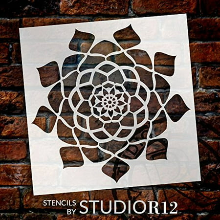 "Mandala - Hypnotic - Complete Stencil by StudioR12 | Reusable Mylar Template | Use to Paint Wood Signs - Pallets - Pillows - Wall Art - Floor Tile - Select Size (15"" x 15"")"