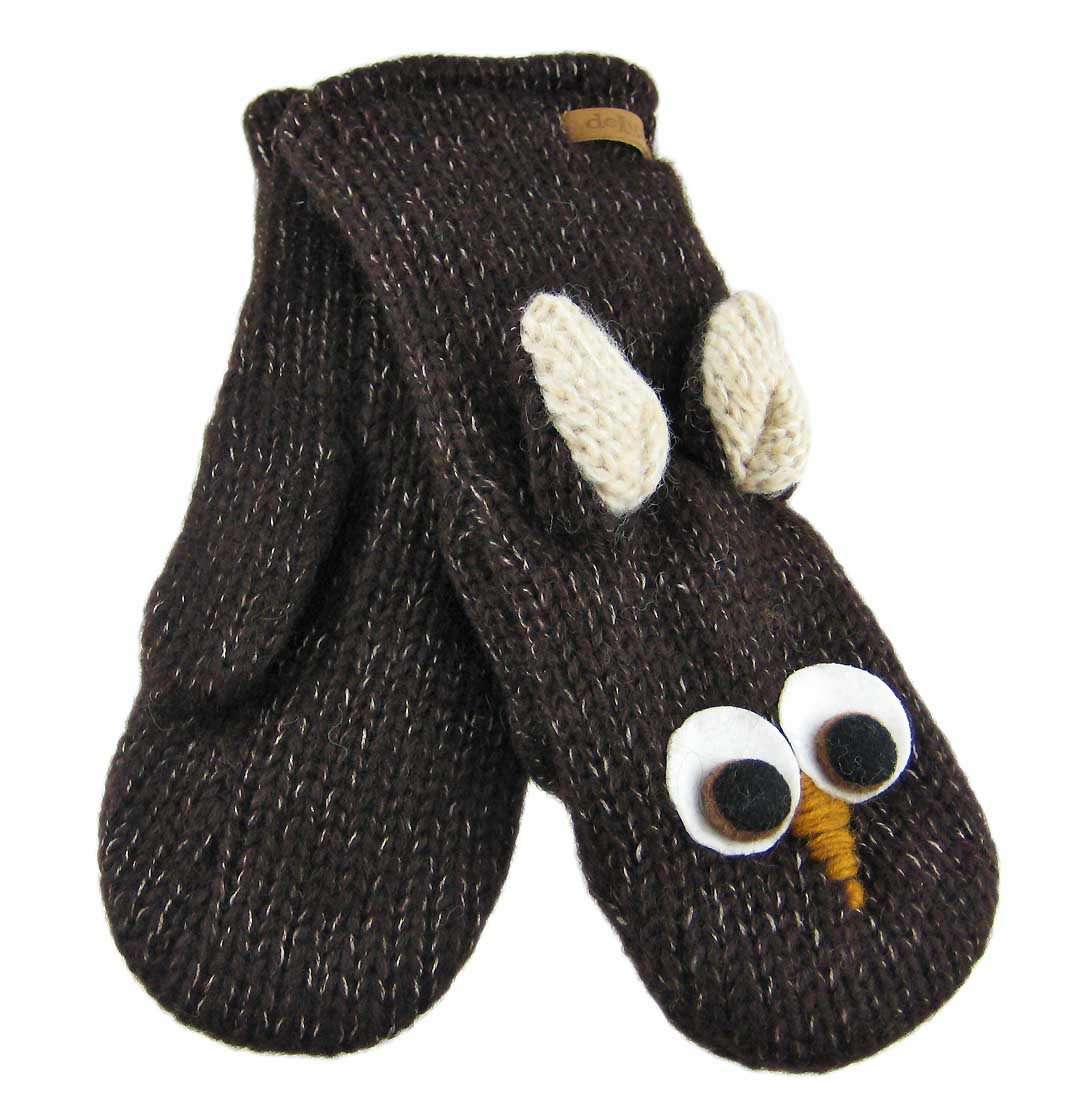 Delux Knitwits Brown Owl Face Wool Mittens