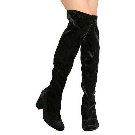 710455d893b Wild Diva GA82 Women Over The Knee Round Toe Chunky Heel Boot