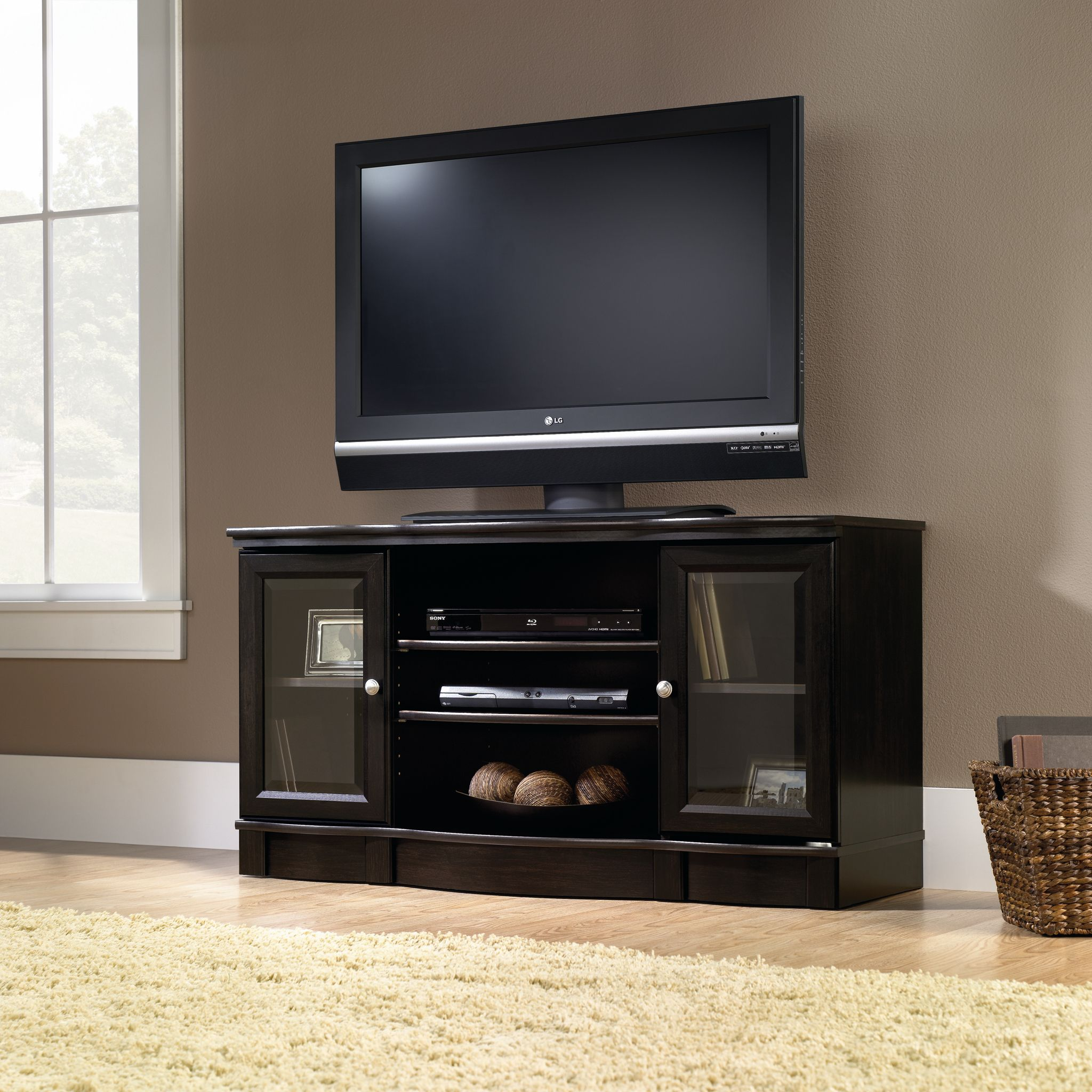 Sauder Regency TV Stand, Estate Black Finish