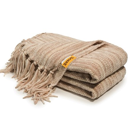 Decorative Thick Chenille Throw Blanket For Couch Throws Sofa Cover Soft Bedding With Fringe 60 X 50 Inch Mixed Brown