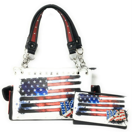 Texas West American Flag Rhinestone Women Leather Concealed Handbags Purse Wallet Set In Multi Colors