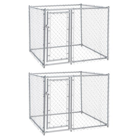 Lucky Dog 5 X 4 Foot Heavy Duty Outdoor Chain Link Kennel 2 Pack