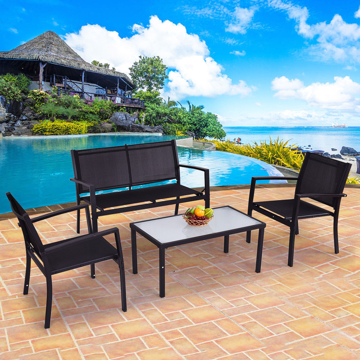 Costway 4 PCS Outdoor Patio Furniture Set Sofa Loveseat Tee Table Garden Yard Pool Side