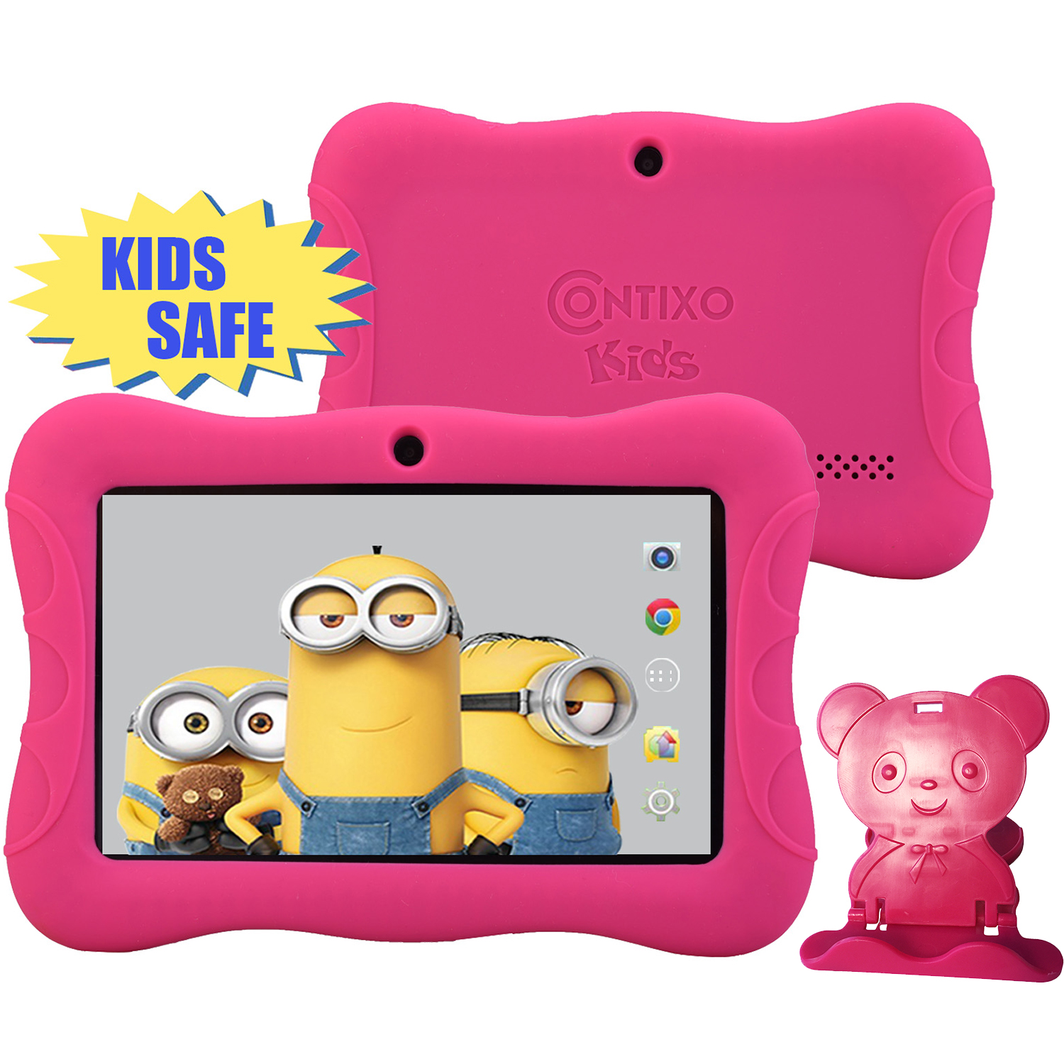 "Contixo 7"" HD Display Kids Tablet 8GB, Bluetooth, Wi-Fi, 20+ Free Games, Kids Place Parental Control, Kid-Proof Case (Pink)"