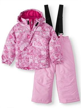 Iceburg Baby Toddler Girl Insulated Winter Jacket Coat & Snow Pants Bib, 2pc Snowsuit Set