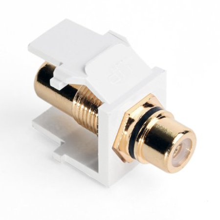Leviton 40830-BWE QuickPort RCA, Gold-Plated Connector with Black Stripe, White