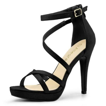 Women S Strappy Platform Stiletto Heels Black Sandals 10 M Us