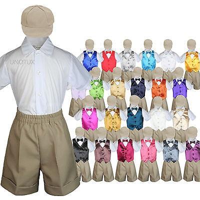 9c89cc99c97b Khaki Boy Toddler Formal Vest Shorts Suit Satin Vest Bow Tie Hat 5PC ...
