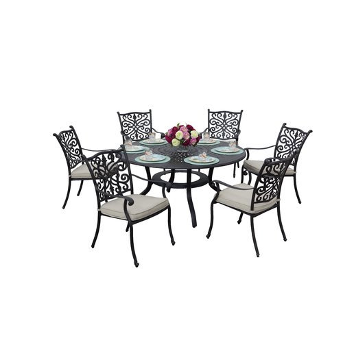 Fleur De Lis Living Belton 7 Piece Dining Set with Cushions