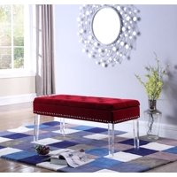 Superb Red Tufted Benches Walmart Com Andrewgaddart Wooden Chair Designs For Living Room Andrewgaddartcom