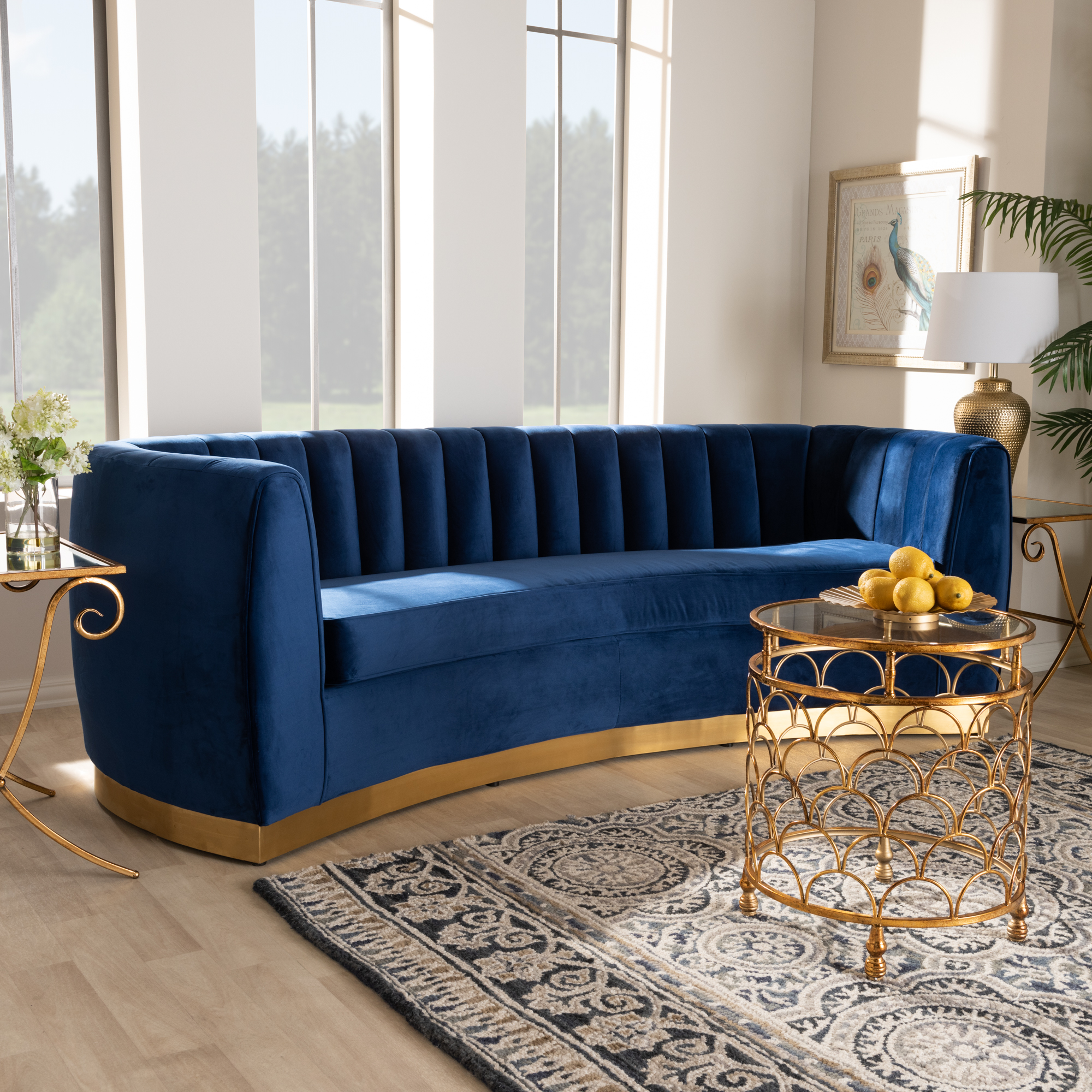 Baxton Studio Milena Glam Royal Blue Velvet Fabric Upholstered Gold Finished Sofa