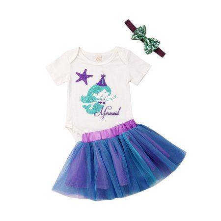 Newborn Baby Girl Romper Top Jumpsuit Tutu Skirts Mermaid Outfit Clothes Set