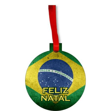 Flag Brazil Feliz Natal Brazilian Grunge Flag Round Shaped Flat Hardboard Christmas Ornament Tree Decoration - Unique Modern Novelty Tree Décor Favors - Brazil Decorations