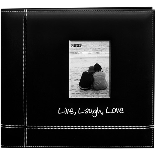 "Embroidered Stitched Leatherette Postbound Scrapbook Album 12""X12""-Black Live/Laugh/Love"