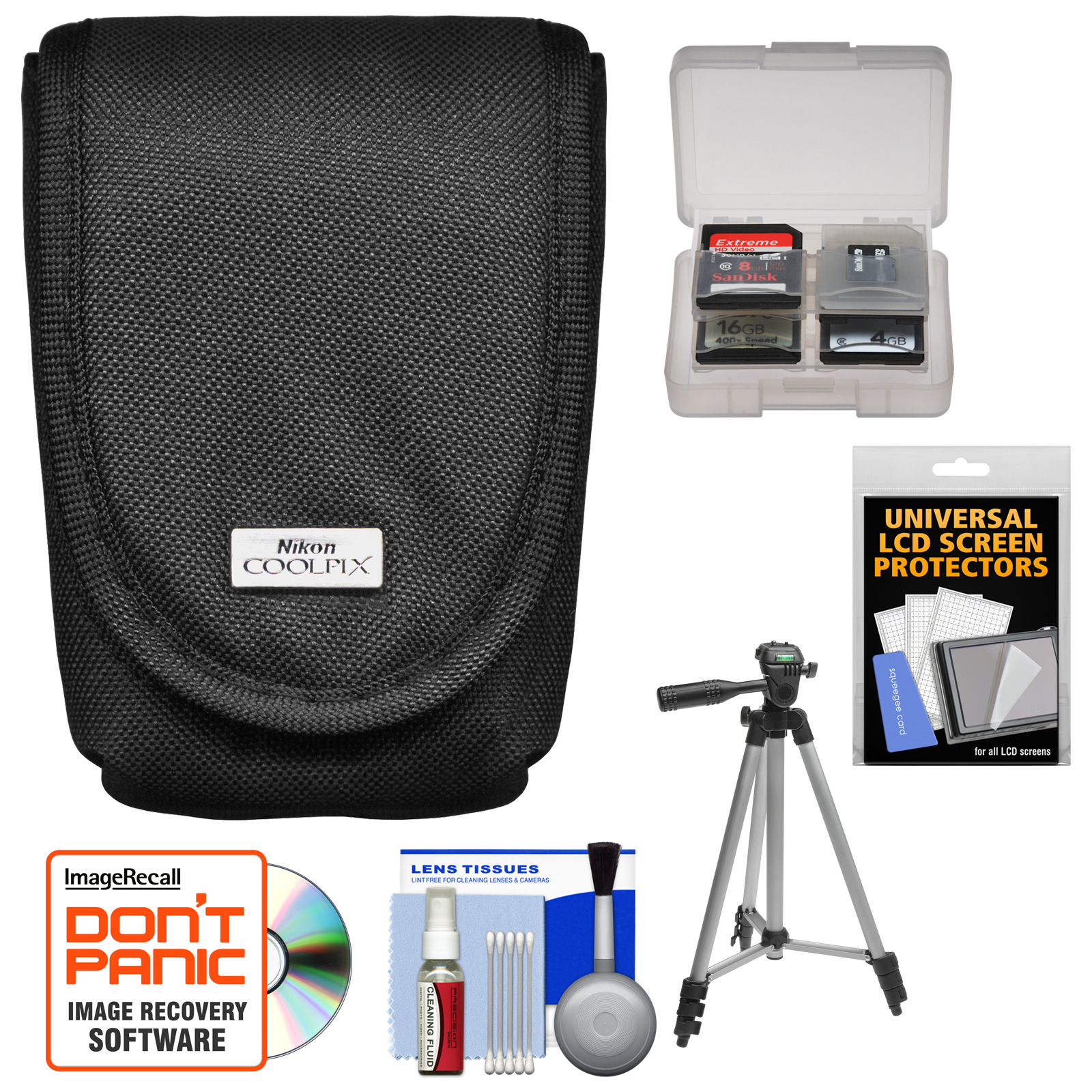 Nikon Coolpix 5879 Digital Camera Case with Tripod   Screen Protectors   Kit for AW110, AW120, P330, P340, S01, S02, S31, S32, S3500, S4300, S5200, S5300, S6500, S6800, S800C, S810C, S9500, S9700