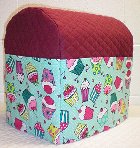 Quilted Cupcake Kitchenaid Tilt Head Stand Mixer Cover (Burgundy & Teal)