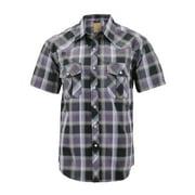 Mens Western Short Sleeve Button Down Casual Plaid Pearl Snap Cowboy Shirt (#1 Purple/Black, L)