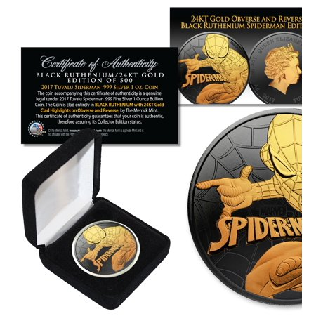 2017 1 oz  Pure Silver Tuvalu SPIDERMAN BU Coin BLACK RUTHENIUM with 24KT Gold 13mm Black Coin