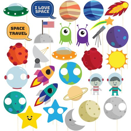 Space Photo Booth Props – 30-Pack Pre-Assembled Outer Space Party Supplies, Solar System Party Photo Props, Birthday Decoration Accessories Party Favors on Bamboo Sticks, Assorted Designs Birthday Party Favors Photo