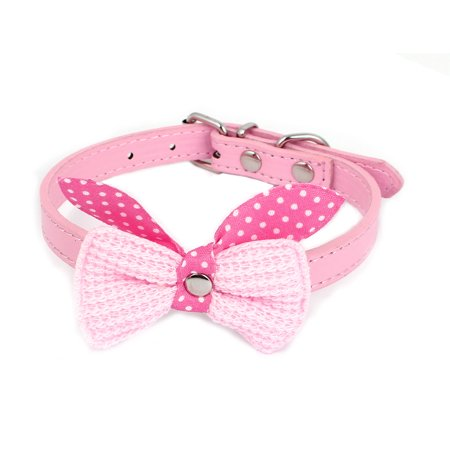 Single Pin Buckle Bow Bowknot Detail Pet Dog Kitty Collar 27-33cm Pink