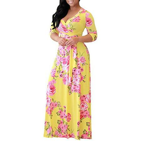 959c840bf04 JustVH - JustVH Women s Sexy Deep V Neck Floral Print Loose Dress Stretch  Casual Long Maxi Dresses - Walmart.com
