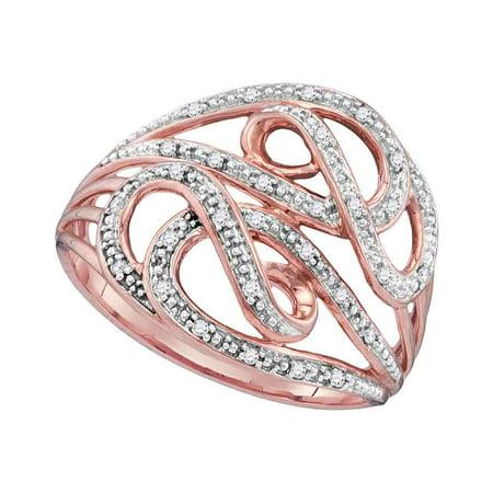 Diamond Ladies Cocktail Ring - 10kt Rose Gold Womens Round Diamond Woven Cocktail Ring (.10 cttw.)