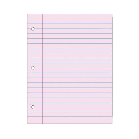 School Smart 3-Hole Punched Filler Paper, 8-1/2 x 11 Inches, Pink, Pack of 100