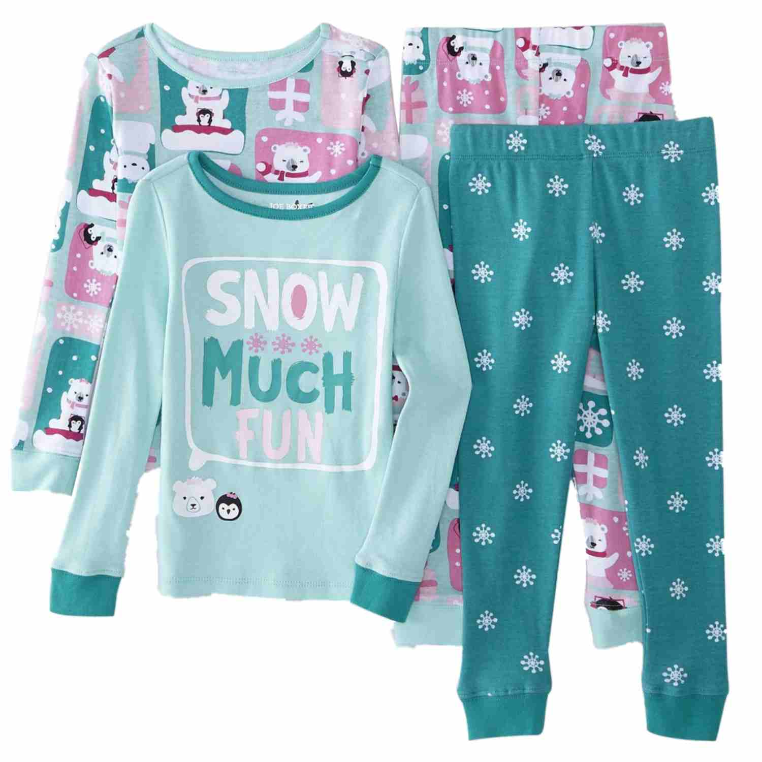 Joe Boxer Infant & Toddler Girls 2 Pack Snow Much Fun Pajama 4 PC Sleepwear Set