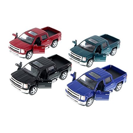 2014 Chevy Silverado Pick-up Truck, SET OF 4 - 5381D - 1/46 Scale Diecast Model Toy Cars, Set of Four 1/46 Scale cars made by Kinsmart! Includes the.., By Kinsmart From