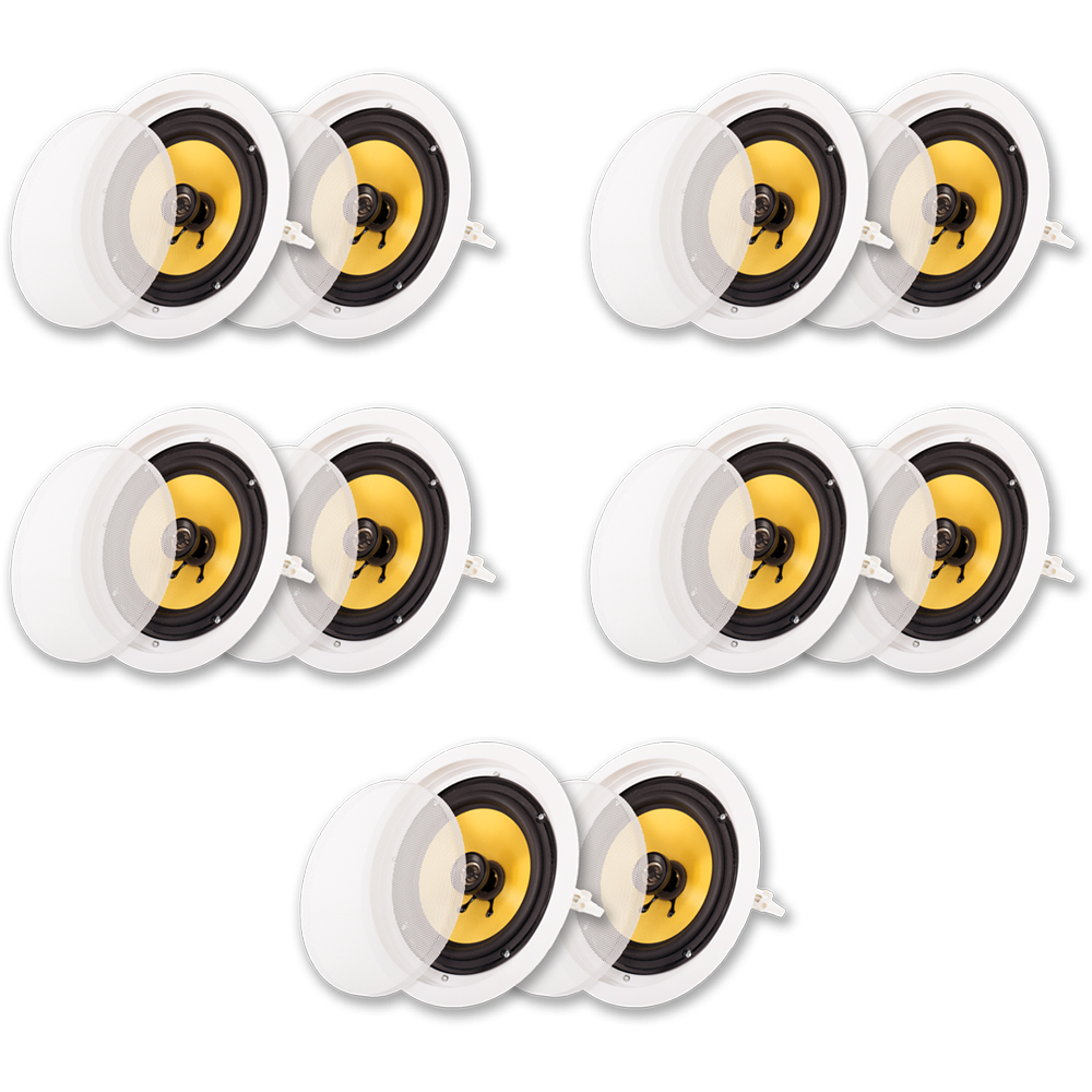 """Acoustic Audio HD-8 In Ceiling 8"""" Speakers Home Theater Surround Sound 5 Pair Pack by Acoustic Audio"""